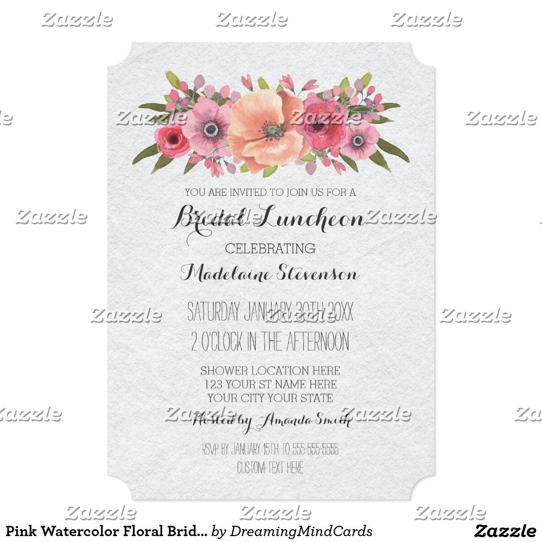 Pink Watercolor Floral Bridal Lunch Invitations