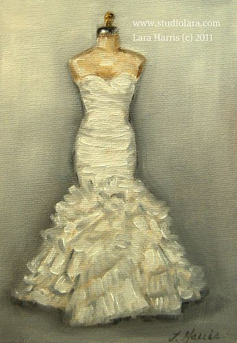 Wedding Dress Painting in OIL by Lara Harris