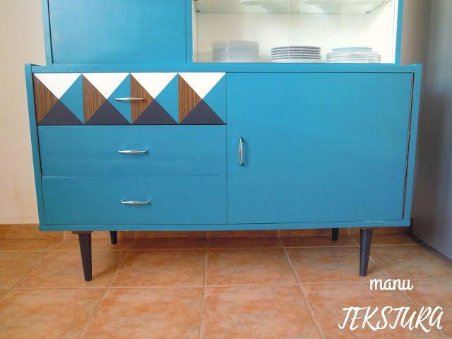 Renowacja mebli Komoda PRL manuTEKSTURA   my designs Pinterest - tür für küchenschrank