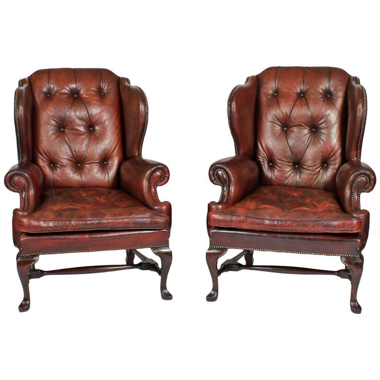 Pair Of Early 20th Century Brass Tacked Tufted Leather High