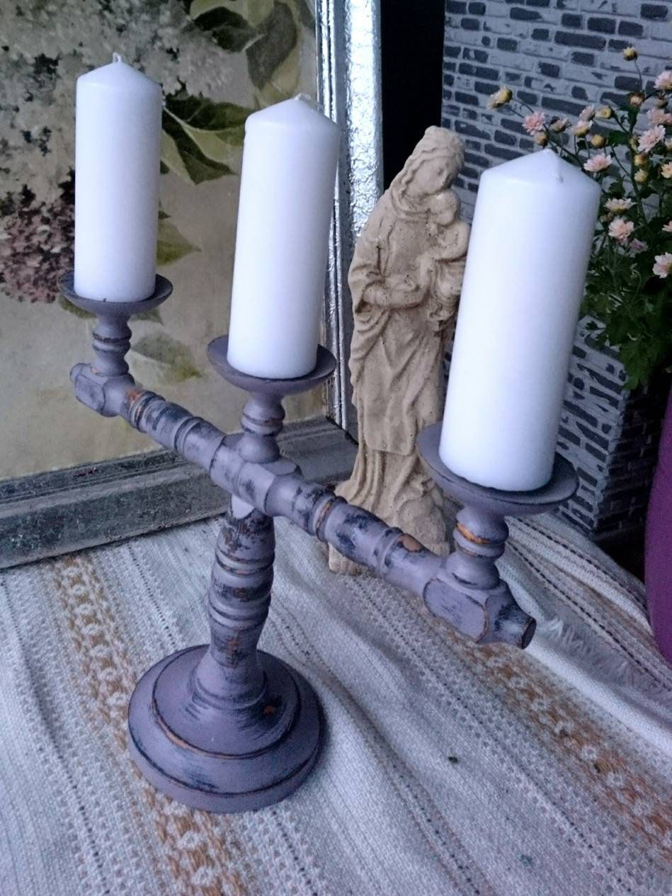 Shabby Chic Old Candlesticks Vintage Candletop Purple