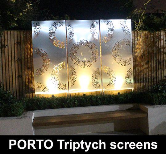 PORTO Triptych Garden Screens In Stainless Steel