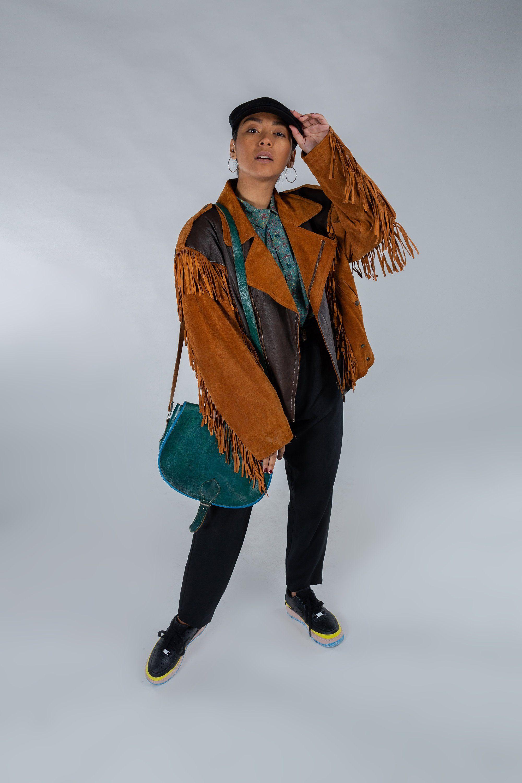 Vintage western fringe jacket / Cognac suede leather