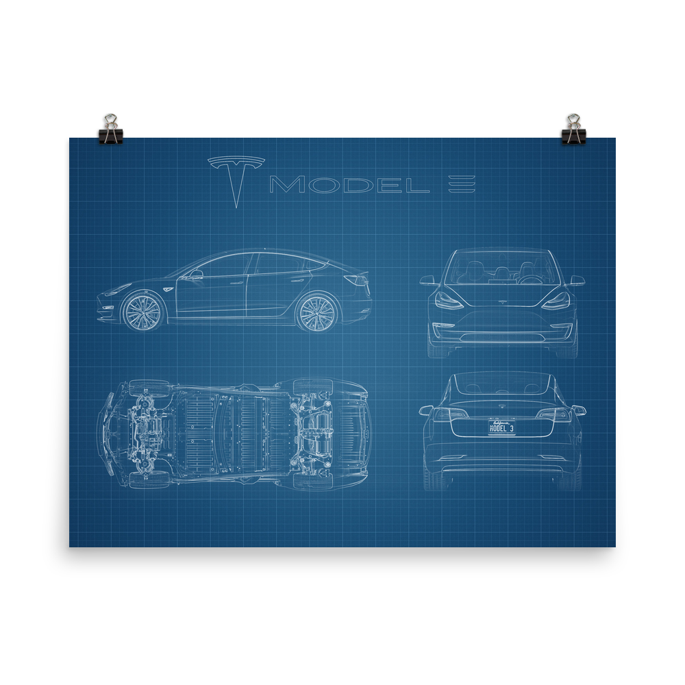 Blueprint style poster of the 2018 tesla model 3 this poster is blueprint style poster of the 2018 tesla model 3 this poster is 18x24 printed malvernweather Images