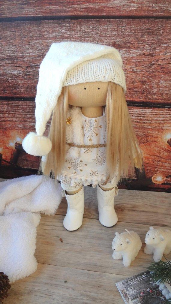 Photo of Innenpuppe Engel nähen. Blondes Textil tun