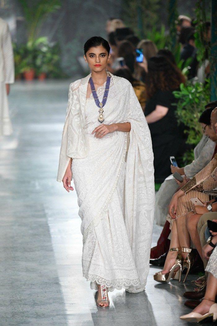 Photo of Rahul Mishra ICW 2018. White wedding saree with cape jacket.#Frugal2Fab