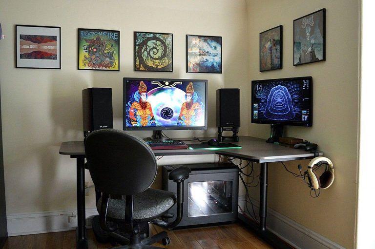 Excellent Right Corner Pc Desk Battlestation With Ikea Bekant