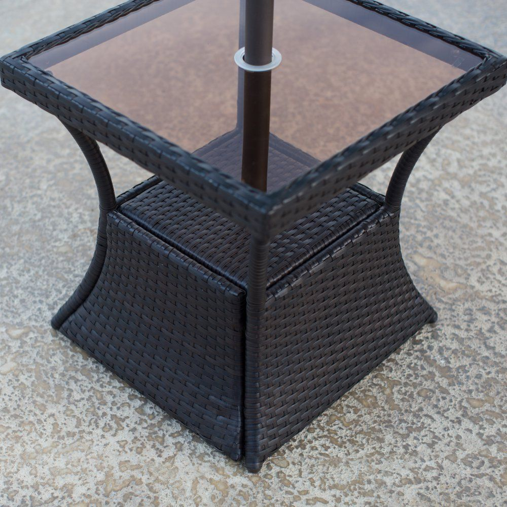 Patio Square Side Table With Glass Top And Umbrella Hole Made With