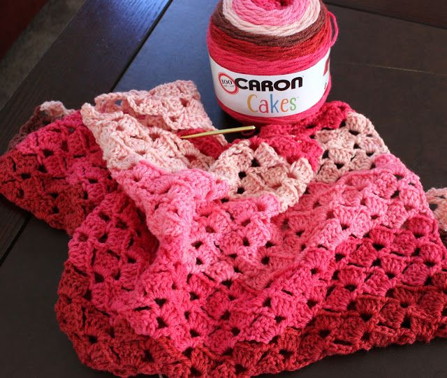 Lacy Crochet: My First Caron Cakes in Cherry Chip. Yarn Review ...