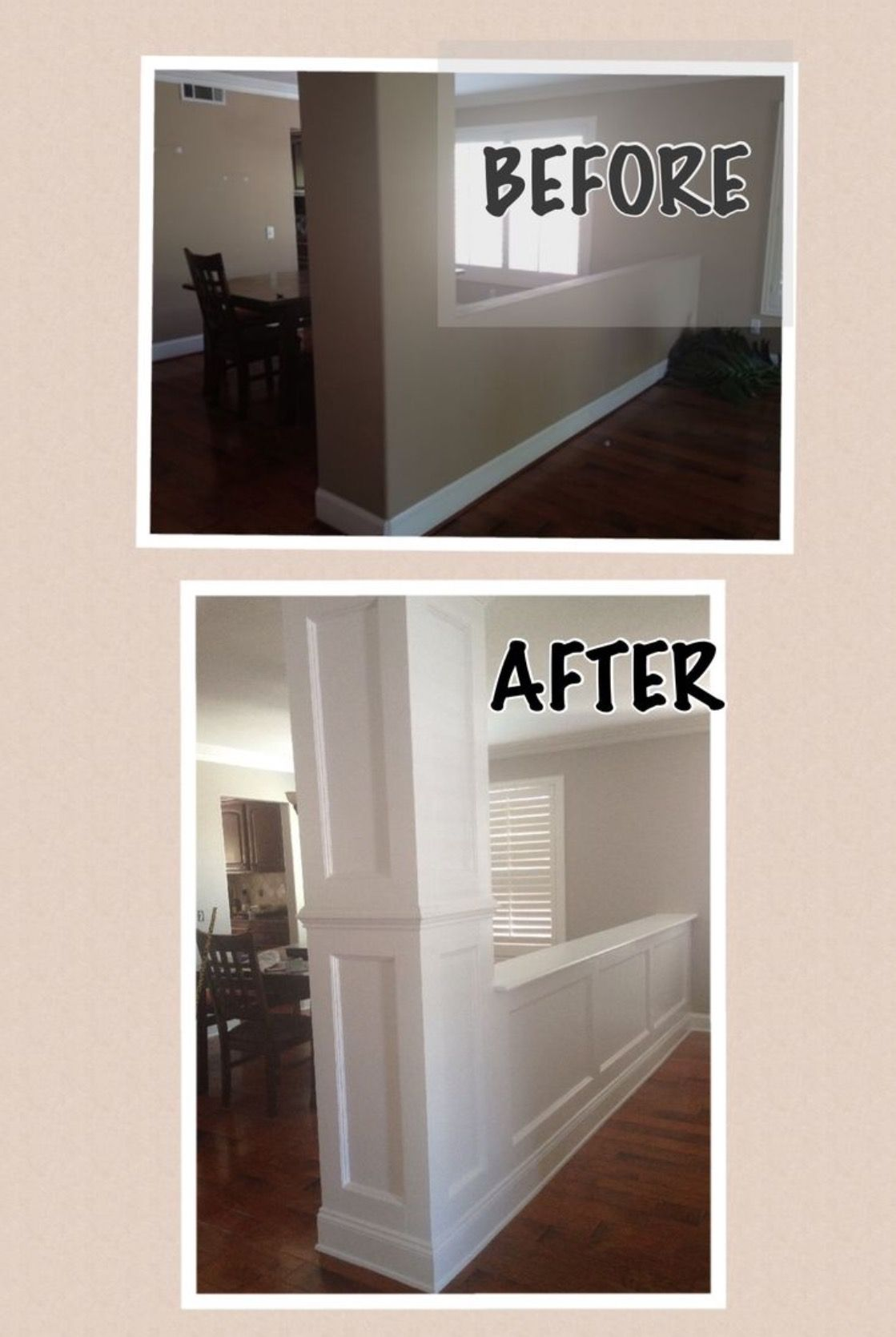 Molding on bottom half wall indoor decororganization in