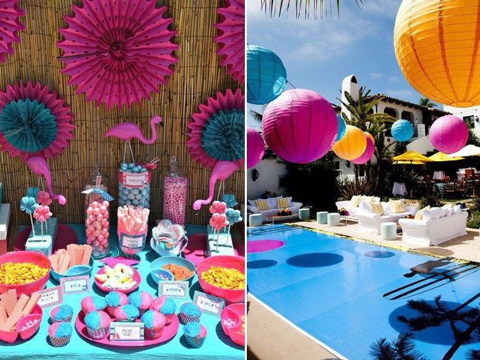 Festa Na piscina doces e balões