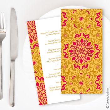 Menu mariage Mauresque rose jaune