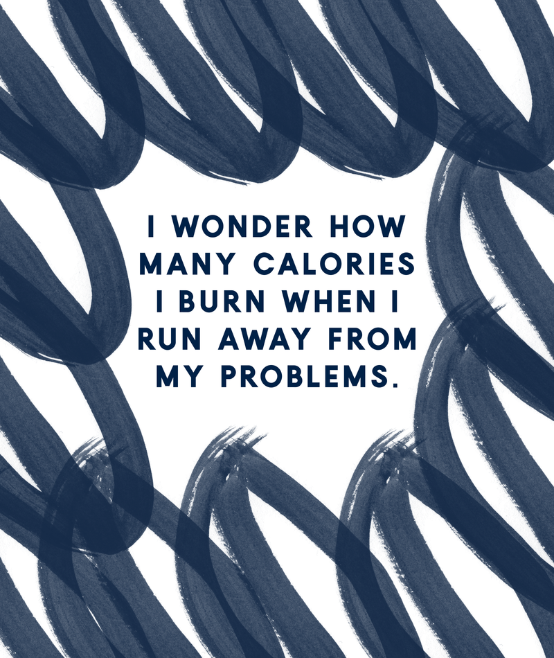 Running Away From My Problems Navy Funny Quotes Designs Art Print By The Happy Arkansan X Small In 2020 Design Quotes Funny Quotes Problem Quotes