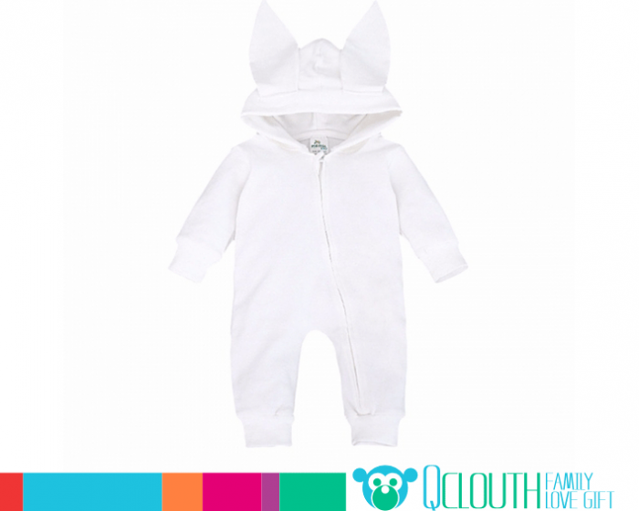 eb87ff973d74 Toddler Baby White Hooded Cotton Clothes Bodysuit Two Cute Ears ...