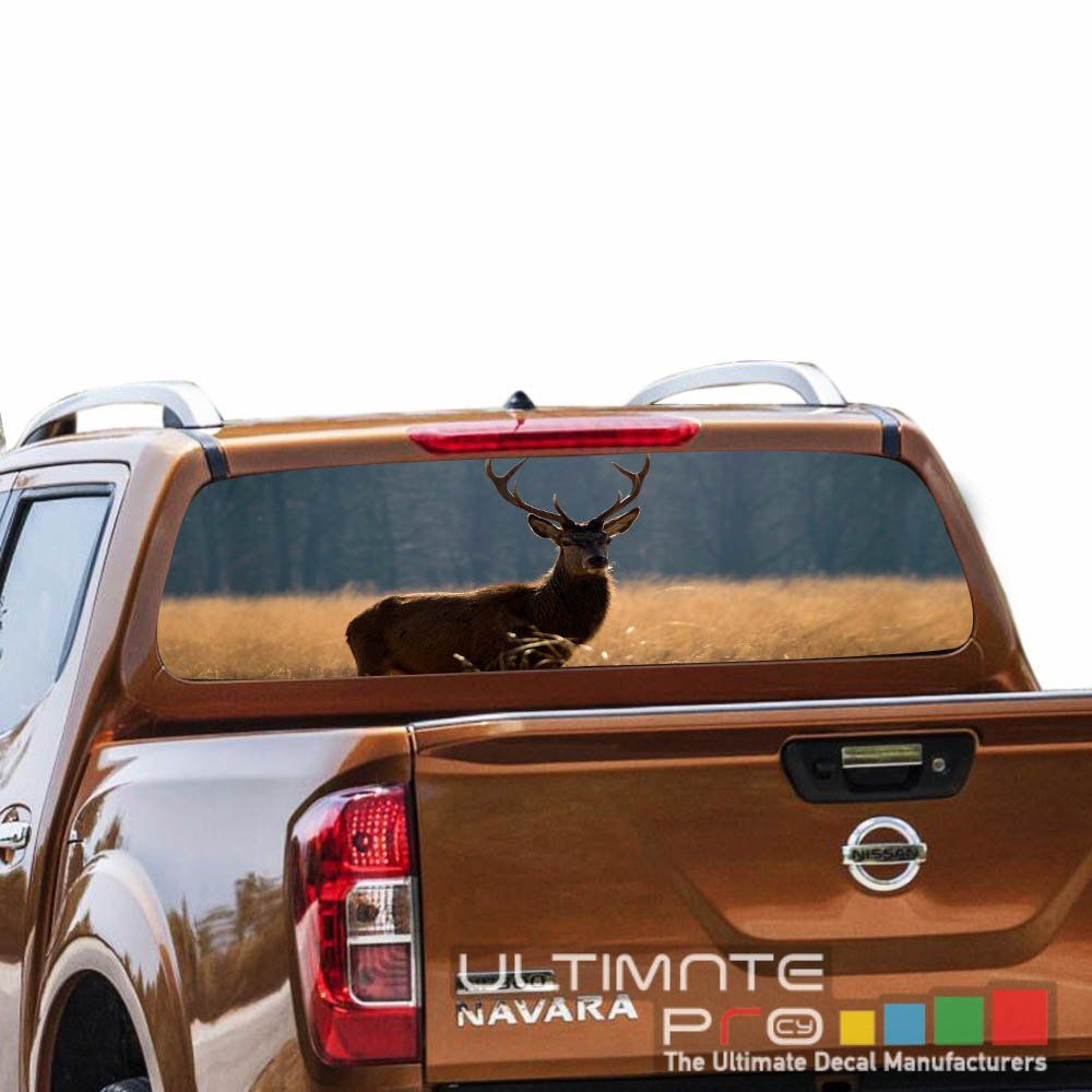 Decals rear back window perforated see thru sticker graphic decal sticker deer compatible with nissan navara np300 printed 4x4 off road