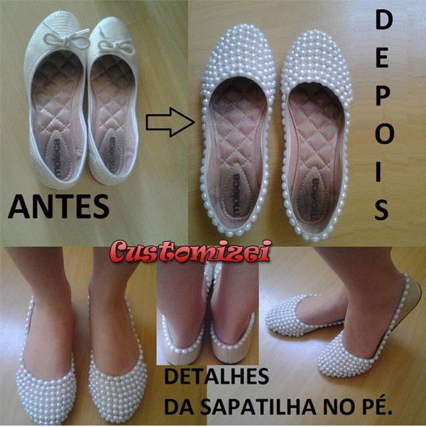 677c0358b7275 Customização: Sapatilha com pérolas | Customizei Custumizaçao De Roupas,  Customização De Sapatos, Diy