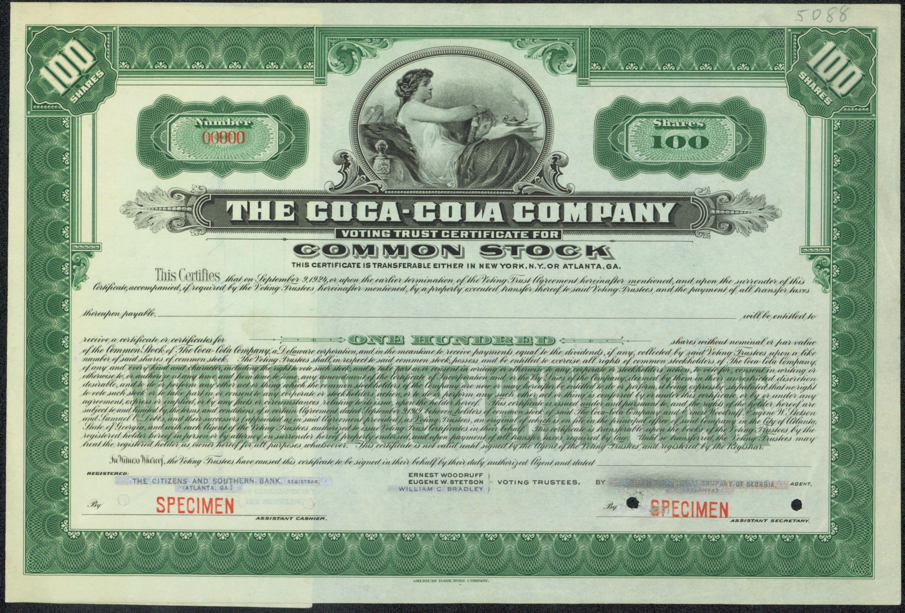 Coca Cola Company Stock Certificate 1919 Original Stock