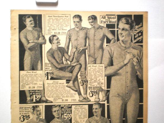 Mens Underwear Ad Fashion Print Vintage 1920s NY Catalog Frame ...