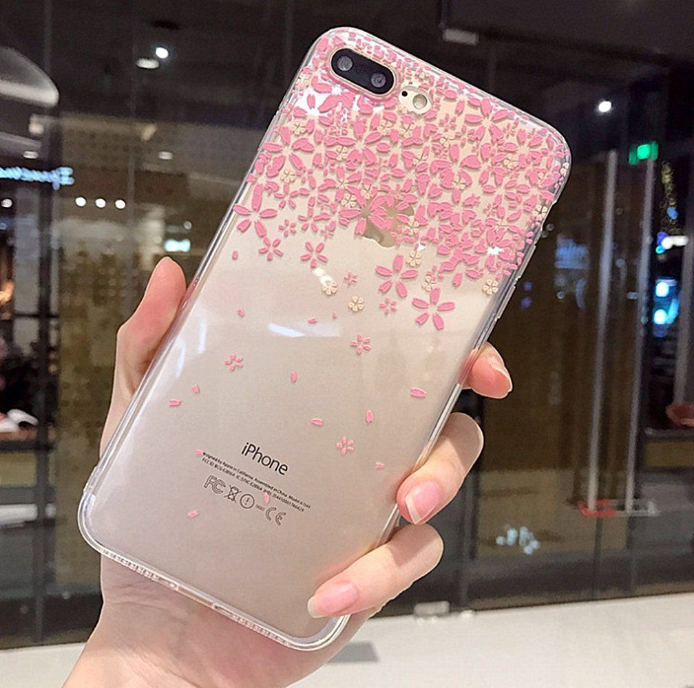 Iphone 8 Plus Soft Case Iphone 7 Plus Clear Case With Design Luoming 3d Emboss Beautiful Flower Pattern Clear Transparent Slim Fi Iphone Cases Clear Cases Case