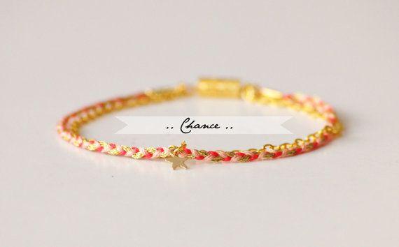 Bracelet tressé Chance coton & chaine fine par CorailMenthe
