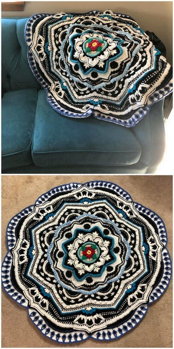 Floral Style Crochet Mandala Free Crochet Pattern #crochetmandalapattern