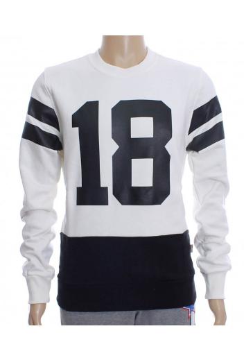Felpa chiusa uomo Carlsberg color panna con scollo rotondo e numero stampato sul davanti. 100% cotone Made In Italy #ProdottiDiClasse abbigliamento uomo al prezzo più basso.