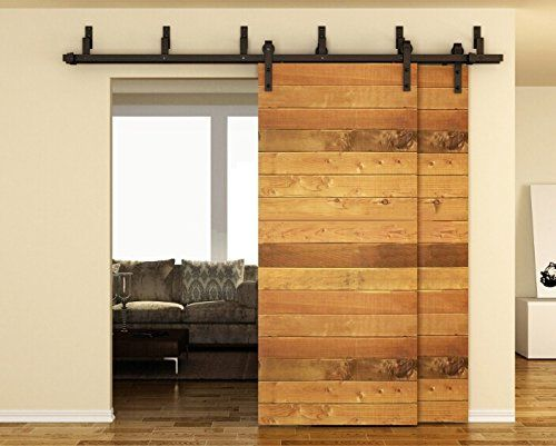 Tcbunny 6 6ft Bypass Double Door Sliding Barn Door Hardware Black J Shape Hangers 2 X 6 6 Foot Rail Puertas Interiores