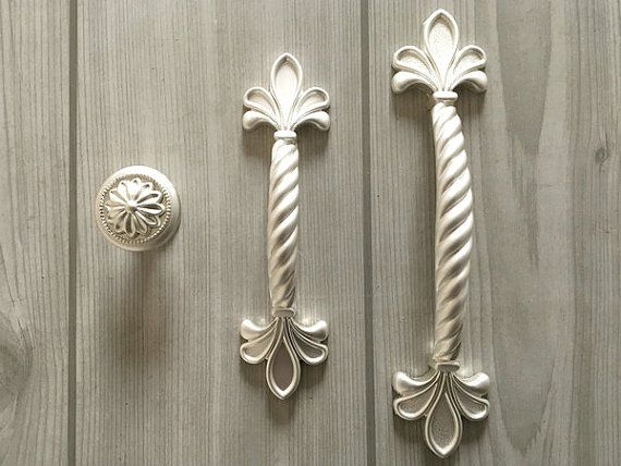 Chippy White Cabinet Knobs Drawer Pulls Two