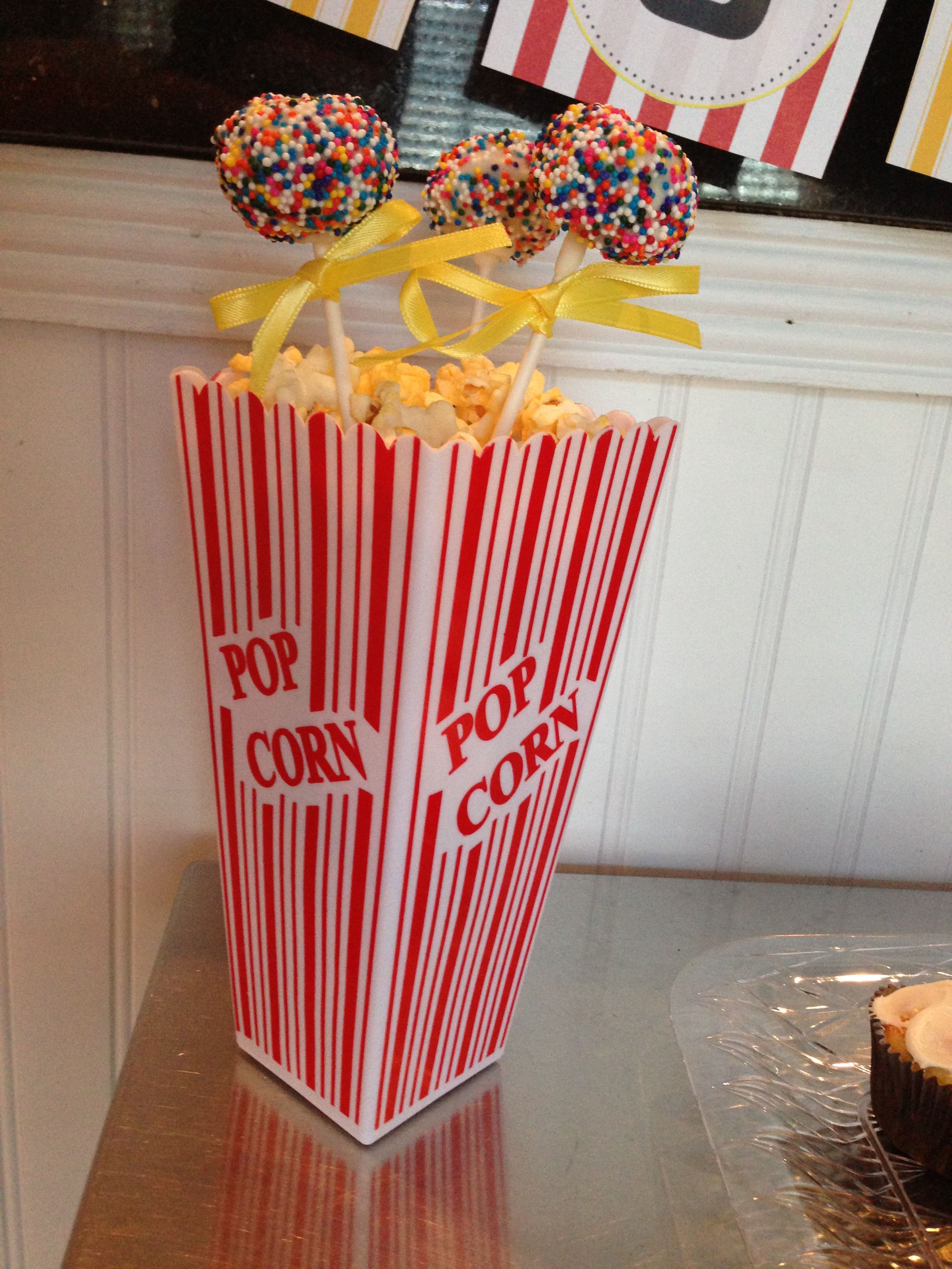 DIY Movie Night Decoration I Created Popcorn Box From Target Dollar Section With Styrofoam Inside To Hold Cake Pops