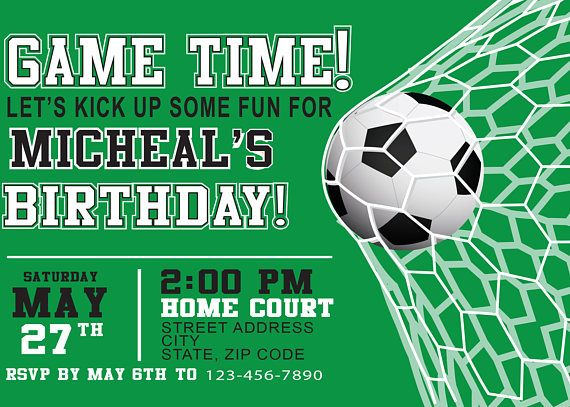 Soccer Birthday Party Invitation Personalized with your photo DIGITAL FILE