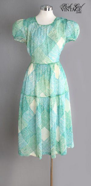 1930's Green Cotton Voile Day Dress