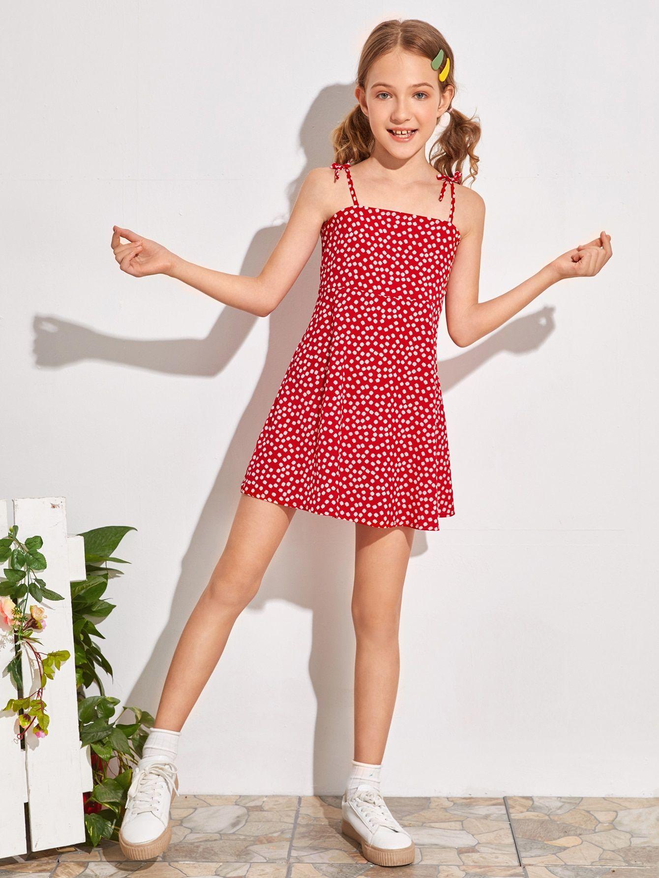 Girls knot strap ditsy floral slip dress shein uk