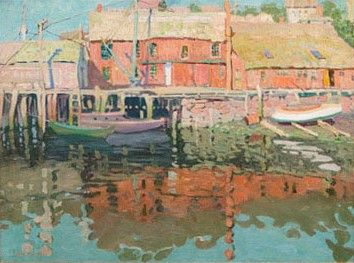"""""""The Waterfront Gloucester,"""" Jane Peterson, Oil on Canvas, 30 x 40"""", Rockport Art Association."""