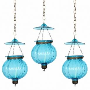 Set Of 3 Anglo Indian Late 19th C Colored Glass Bell Jar Lanterns Lights Or Pendant Lamps Glass Bell Jar Jar Lanterns Pendant Lamp