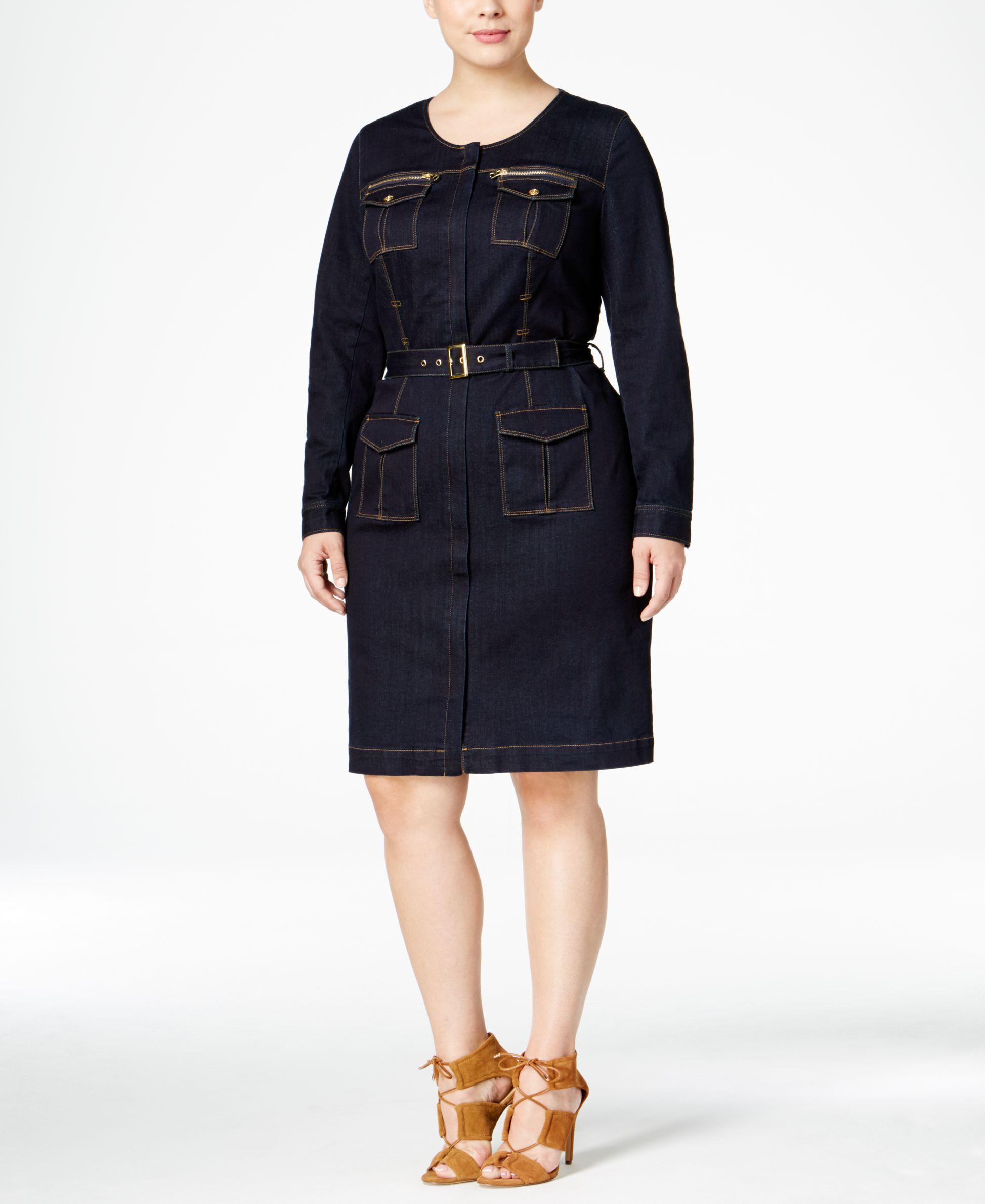 6d7871130fd Inc International Concepts Plus Size Belted Denim Utility Shirtdress ...