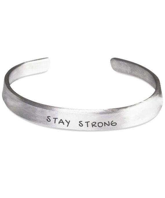 STAY STRONG Custom Cuff Bracelet by ProsperousJewels on Etsy