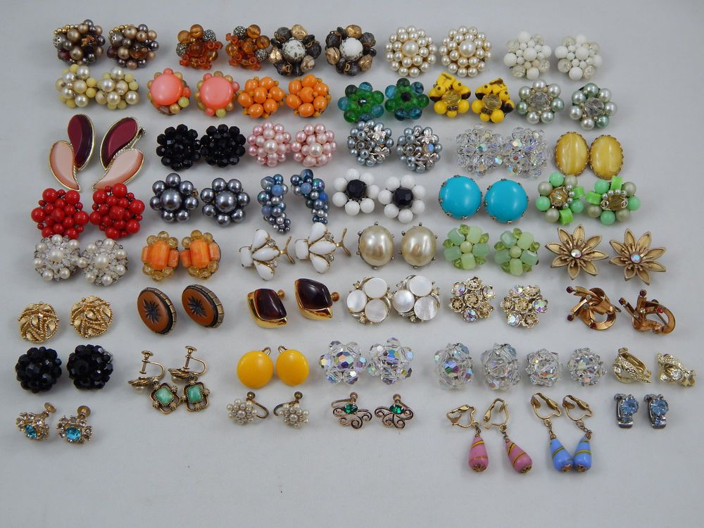48 Pr Vintage Costume Jewelry Earring