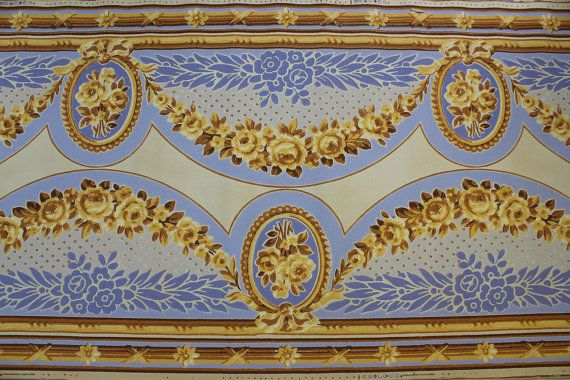 1920s Antique Vintage Wallpaper Blue And Gold Roses Victorian Vintage Wallpaper Antique Wallpaper Wallpapers Vintage