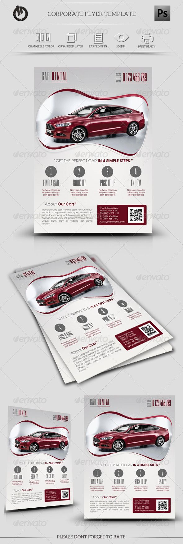 Car Rental Flyer Template | Flyer template, Text fonts and Template