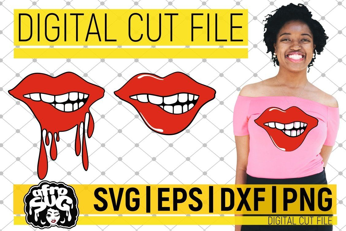 Red Lips Bundle SVG, Biting Lips SVG, Dripping SVG, Afro