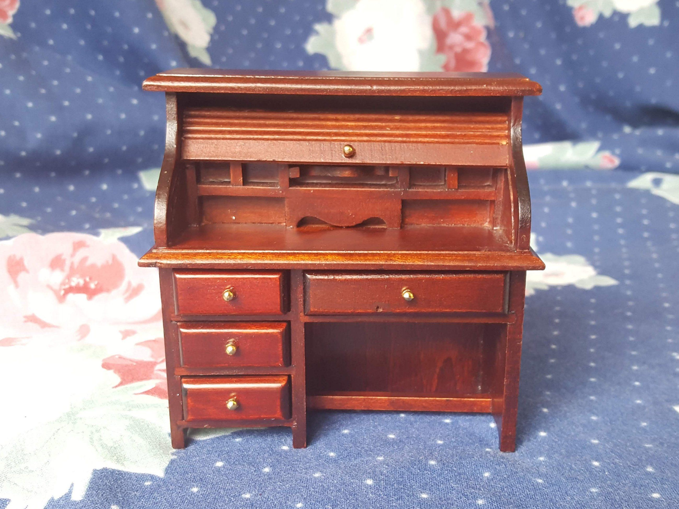 Miraculous Miniature Dollhouse Wood Roll Top Desk Office Shop School Download Free Architecture Designs Scobabritishbridgeorg