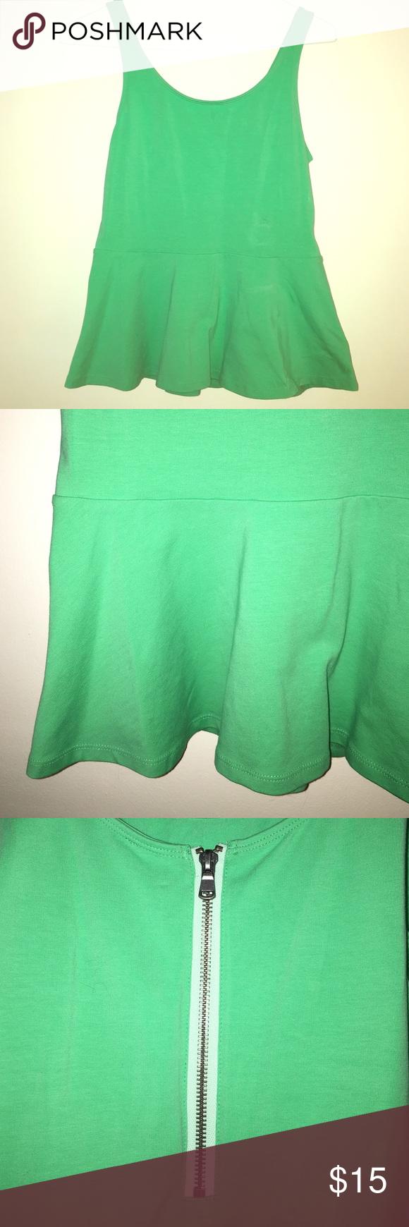 Green peplum top Green peplum top. Exposed silver zipper on back. Express Tops Tank Tops