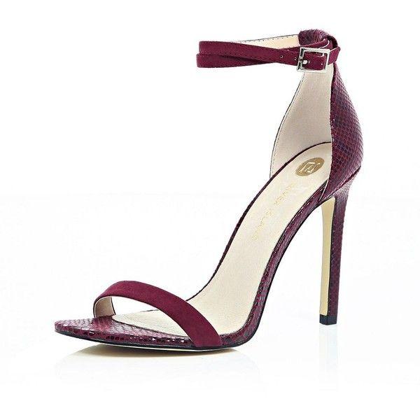 dark red heeled sandals
