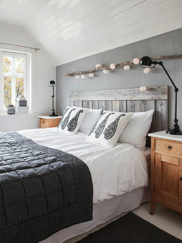 Schlafzimmer Ideen grau graue Bettwäsche, weiße Kissen mit grauen ...