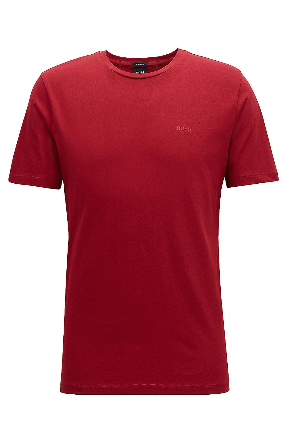 5750e53ab HUGO BOSS Crew-neck T-shirt in yarn-dyed single jersey - Dark Red T-Shirts  from BOSS for Men in the official HUGO BOSS Online Store free shipping