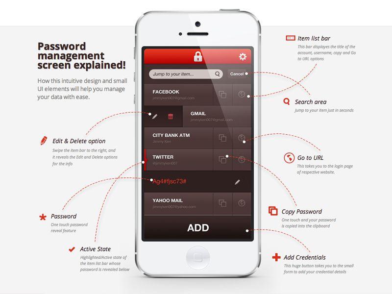 Password Management Screen Explained App design, Mobile