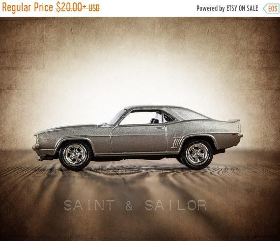 Weekend Vintage Muscle Car Photo Print Silver 69 Camaro Boys Wall Art Prints Room Decor Canvases Printuseums