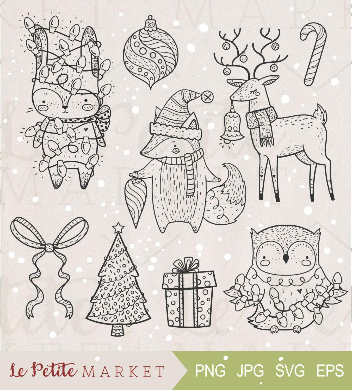 Cute Hand Drawn Woodland Animals Holiday Clip Art Set