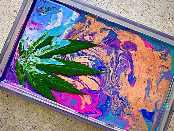 Real Pot Leaf Rolling Tray Stoner Accessories Fluid Art