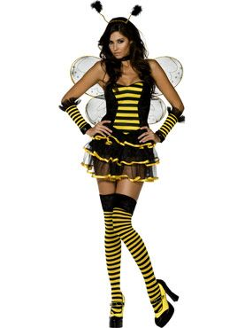 Ladies BUMBLE BEE Fancy Dress Costume Adult Insect Party Womens Lady Bug Outfit